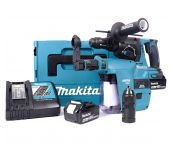 Makita DHR243RTJV Set marteau perforateur SDS-plus à batteries (2 x 5.0Ah) 18V dans MAKPAC avec extraction mandrin rechangeable inclu.